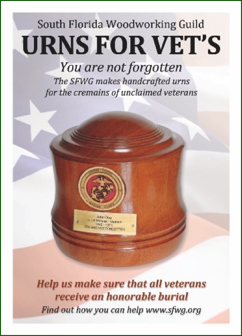 <h3>Donate to the Urns for Vets Program</h3><b>The Gold Coast Wood Turners are participating with the South Florida Woodworking Guild on this important project.</b>